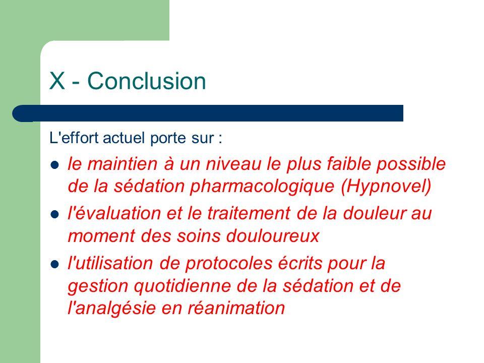 X - Conclusion L'effort actuel porte sur : le maintien à un niveau le plus faible possible de la sédation pharmacologique (Hypnovel) l'évaluation et l