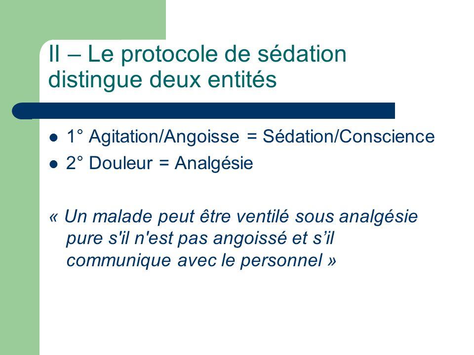 II – Le protocole de sédation distingue deux entités 1° Agitation/Angoisse = Sédation/Conscience 2° Douleur = Analgésie « Un malade peut être ventilé