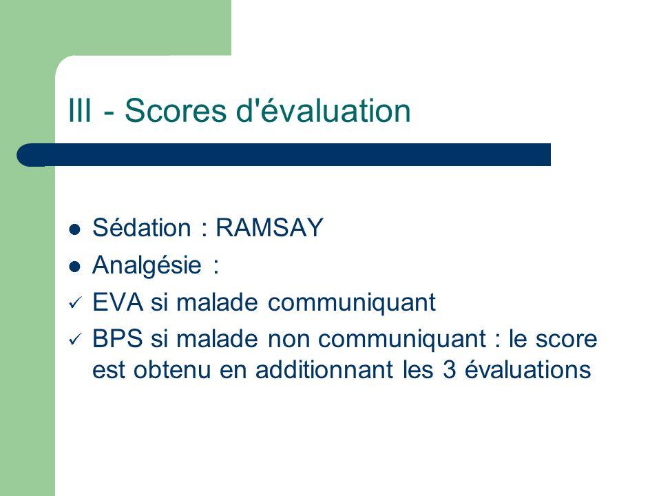 III - Scores d évaluation Sédation : RAMSAY Analgésie : EVA si malade communiquant BPS si malade non communiquant : le score est obtenu en additionnant les 3 évaluations