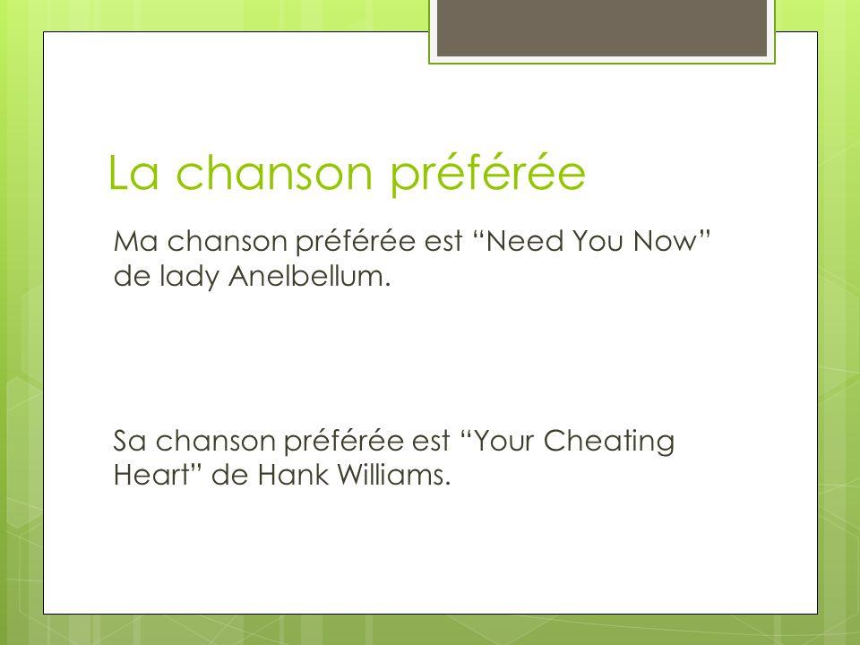La chanson préférée Ma chanson préférée est Need You Now de lady Anelbellum.