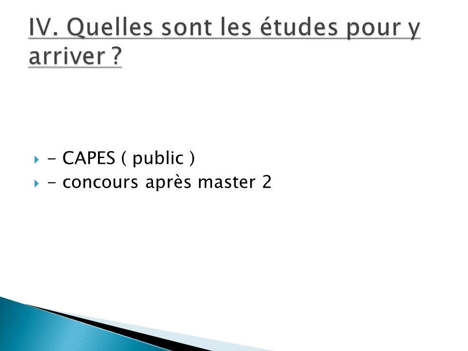 - CAPES ( public ) - concours après master 2