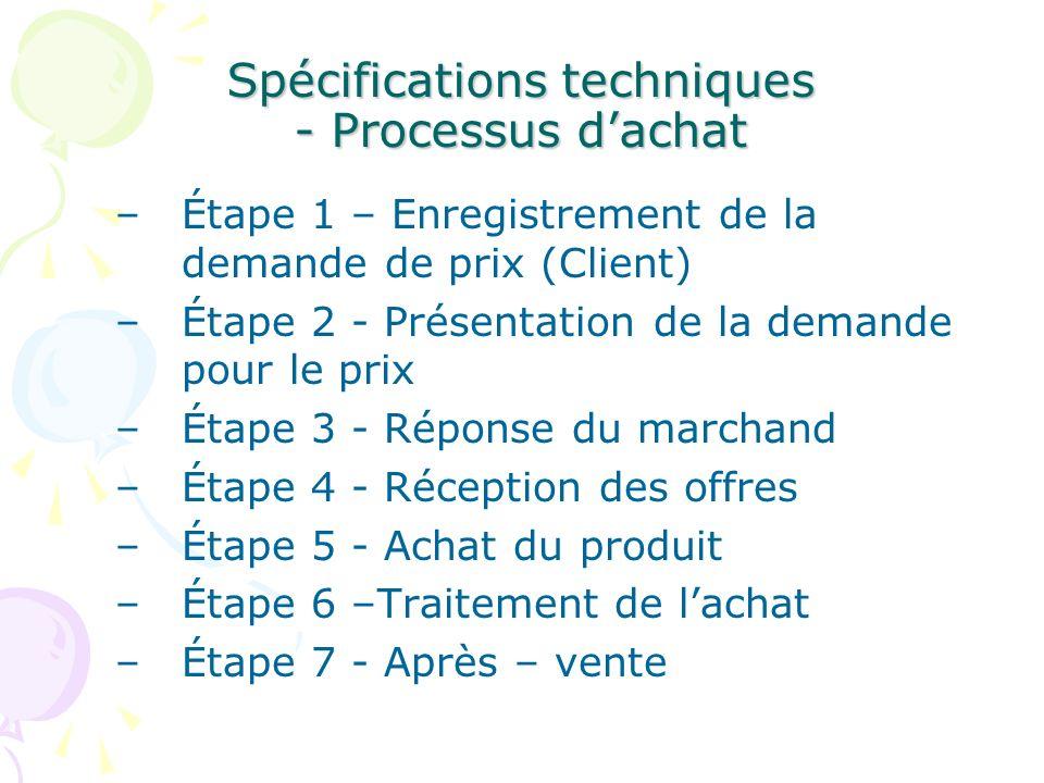 Spécifications techniques - Processus dachat –Étape 1 – Enregistrement de la demande de prix (Client) –Étape 2 - Présentation de la demande pour le pr
