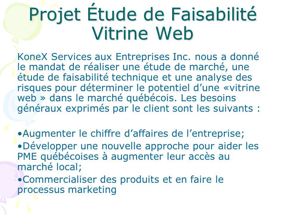 Projet Étude de Faisabilité Vitrine Web KoneX Services aux Entreprises Inc. nous a donné le mandat de réaliser une étude de marché, une étude de faisa