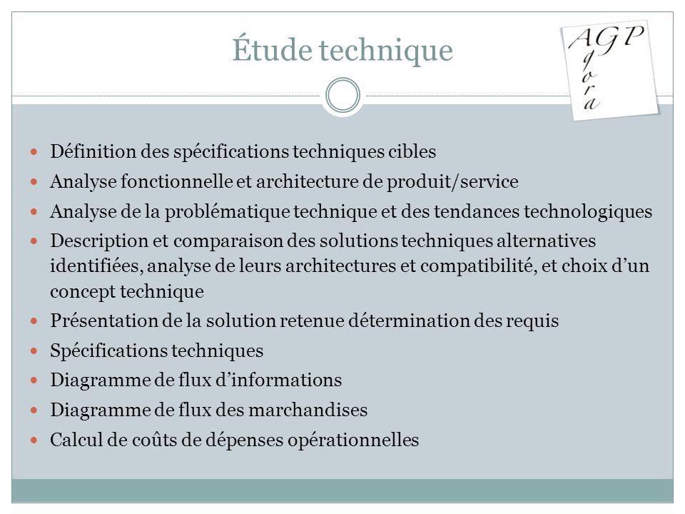Étude technique Définition des spécifications techniques cibles Analyse fonctionnelle et architecture de produit/service Analyse de la problématique t