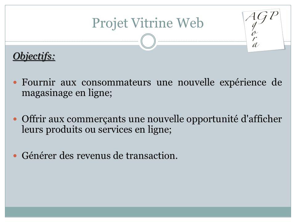 Projet Vitrine Web Objectifs: Fournir aux consommateurs une nouvelle expérience de magasinage en ligne; Offrir aux commerçants une nouvelle opportunit