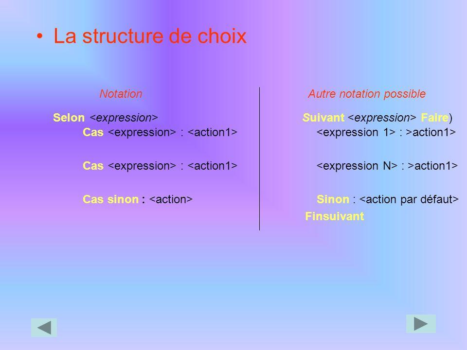 Exemple : Algo : prixdupain Variables Nom : chaîne de caractères Nb : Entier Prx, Mtt, Rem, Map,i : Réel Constantes Tx1 = 0,1 Début *calcul d'une remi