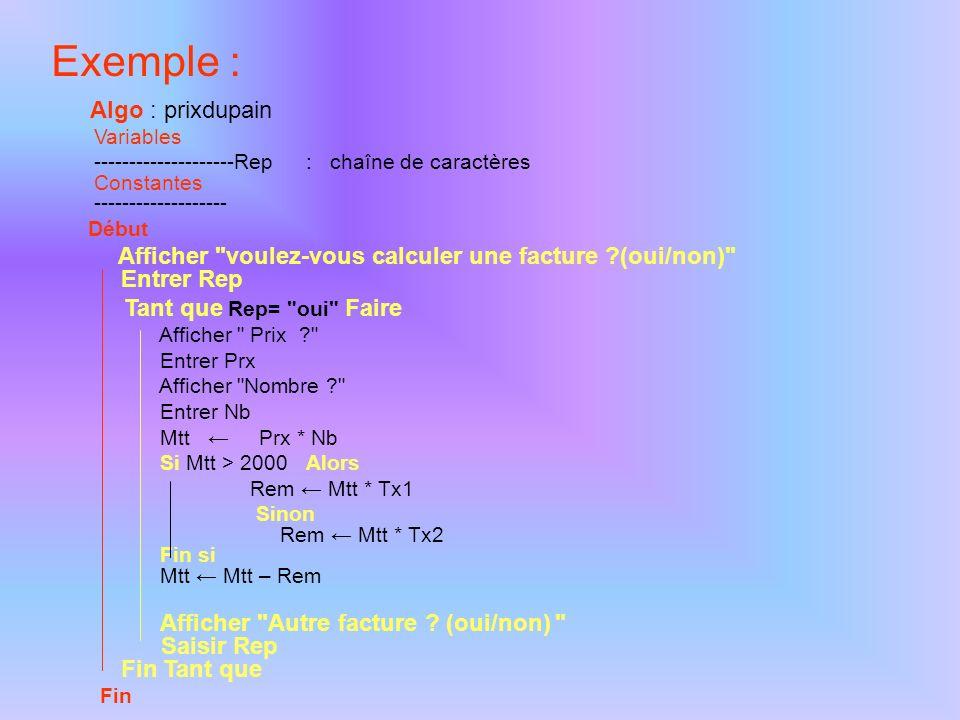 La structure Tant que…Fin Tant que Permet la répétition d'une (ou plusieurs) action(s) tant qu'une condition est satisfaite. Notation : Tant que Faire