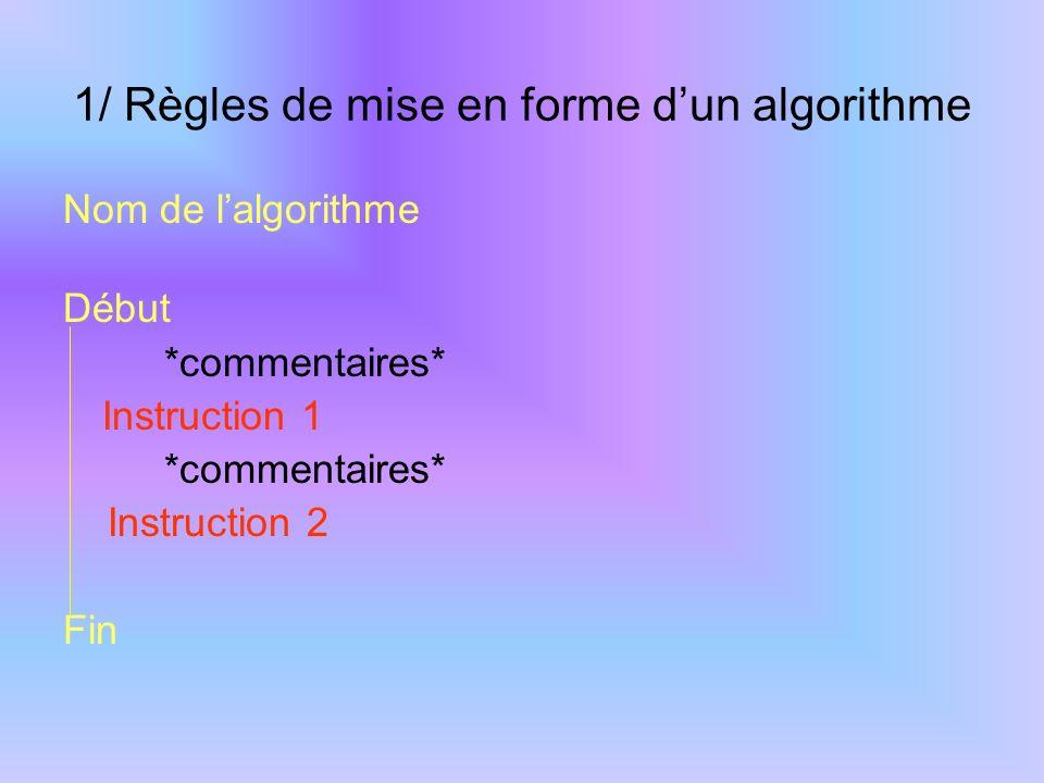 Règles à respecter pour l'écriture d'un algorithme Il est défini sans ambiguité Il se termine après un nombre fini d'opérations Il manipule des objets