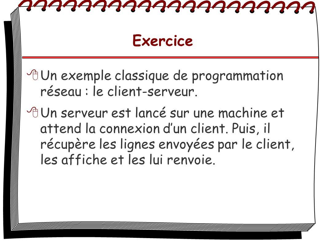 Exercice Un exemple classique de programmation réseau : le client-serveur. Un serveur est lancé sur une machine et attend la connexion dun client. Pui