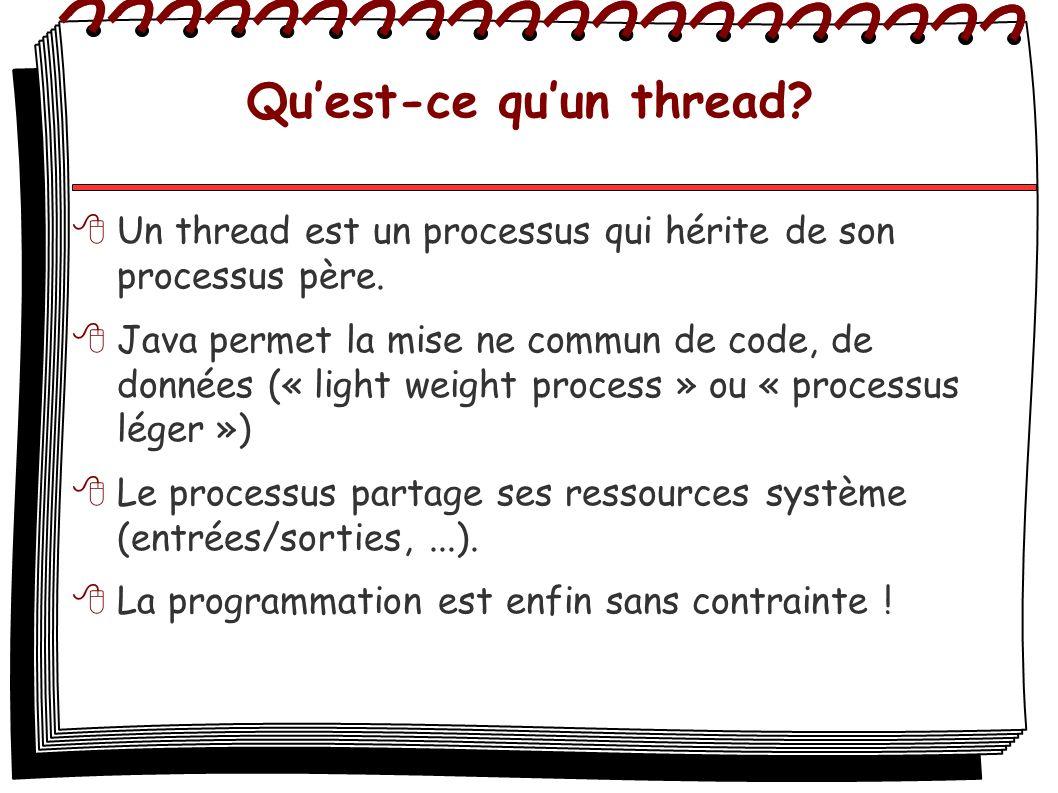 Quest-ce quun thread? Un thread est un processus qui hérite de son processus père. Java permet la mise ne commun de code, de données (« light weight p