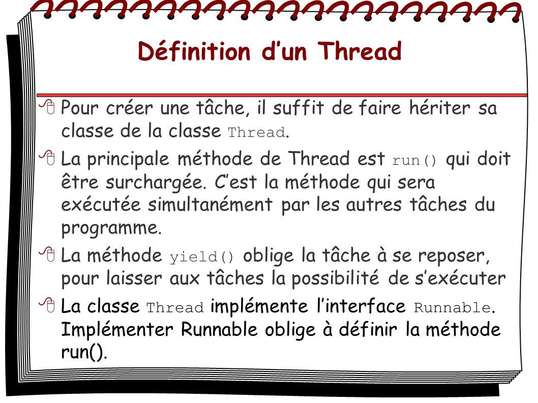 Définition dun Thread Pour créer une tâche, il suffit de faire hériter sa classe de la classe Thread. La principale méthode de Thread est run() qui do