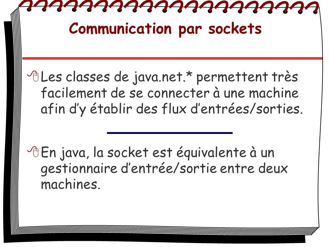 Communication par sockets Les classes de java.net.* permettent très facilement de se connecter à une machine afin dy établir des flux dentrées/sorties