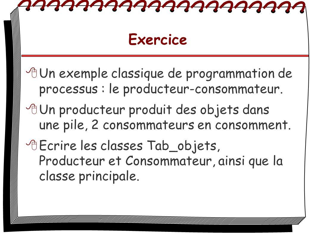 Exercice Un exemple classique de programmation de processus : le producteur-consommateur. Un producteur produit des objets dans une pile, 2 consommate
