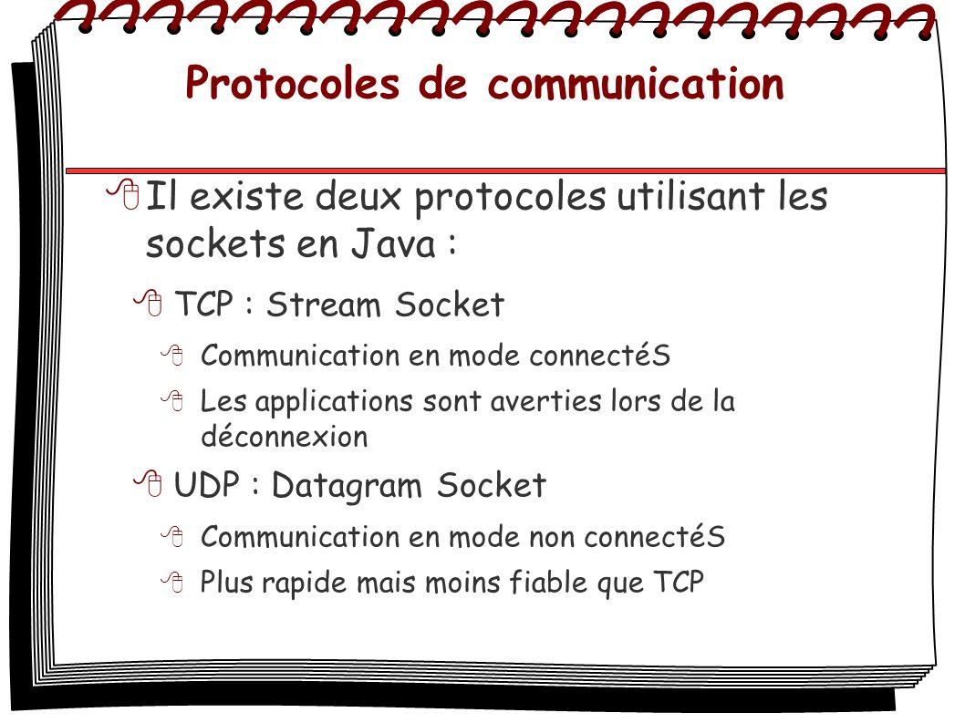Protocoles de communication Il existe deux protocoles utilisant les sockets en Java : TCP : Stream Socket Communication en mode connectéS Les applicat