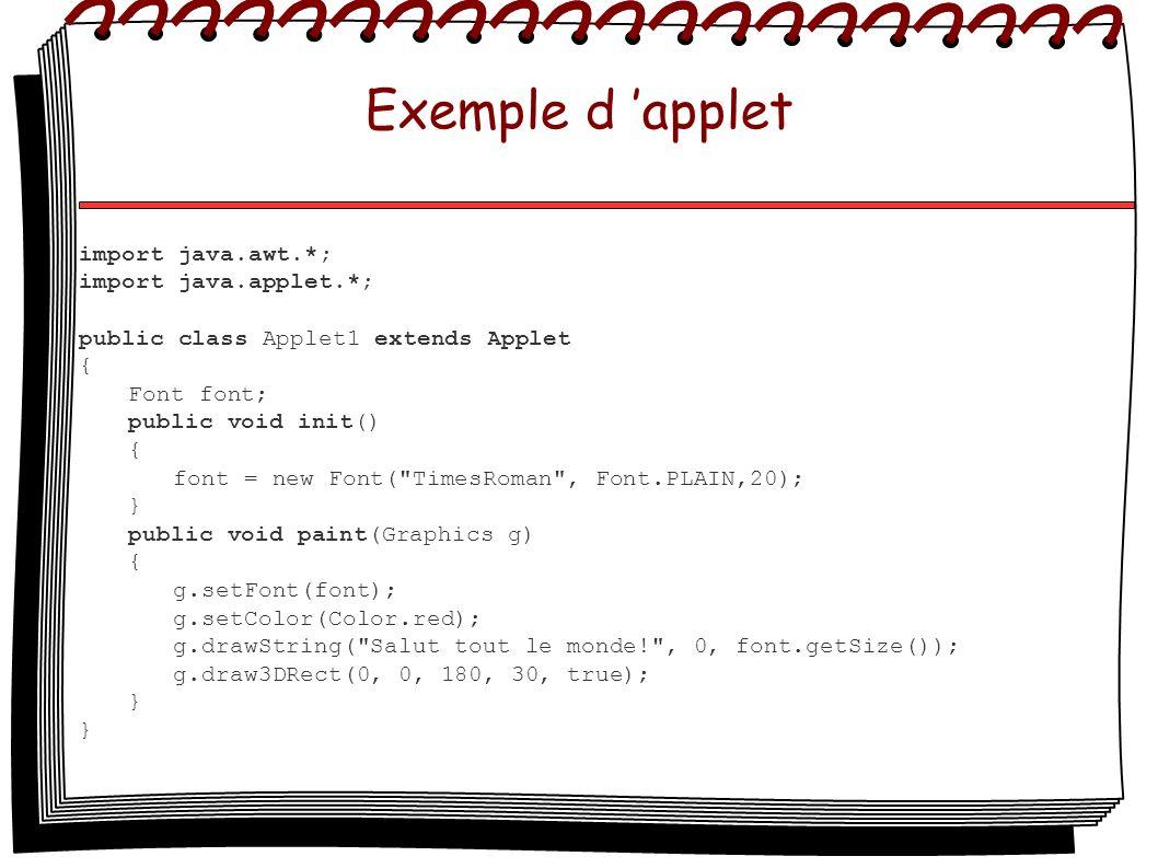 Exemple d applet import java.awt.*; import java.applet.*; public class Applet1 extends Applet { Font font; public void init() { font = new Font(