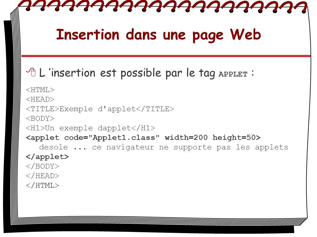 Insertion dans une page Web L insertion est possible par le tag APPLET : Exemple d'applet Un exemple dapplet desole... ce navigateur ne supporte pas l
