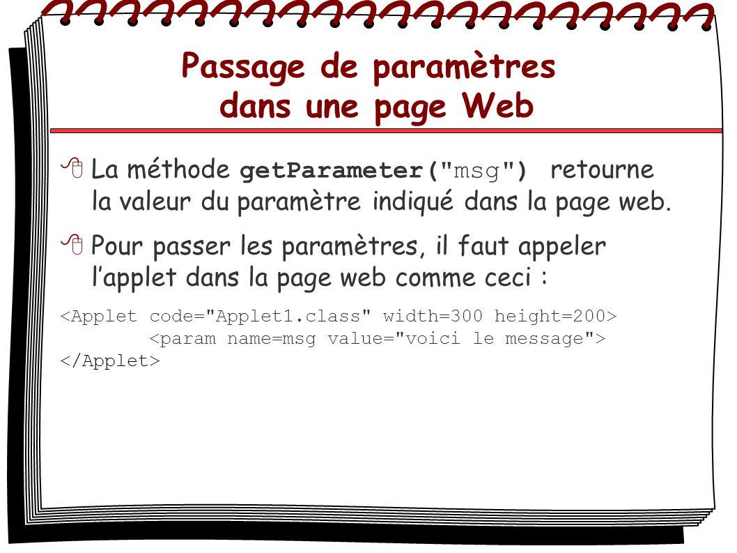 Passage de paramètres dans une page Web La méthode getParameter(