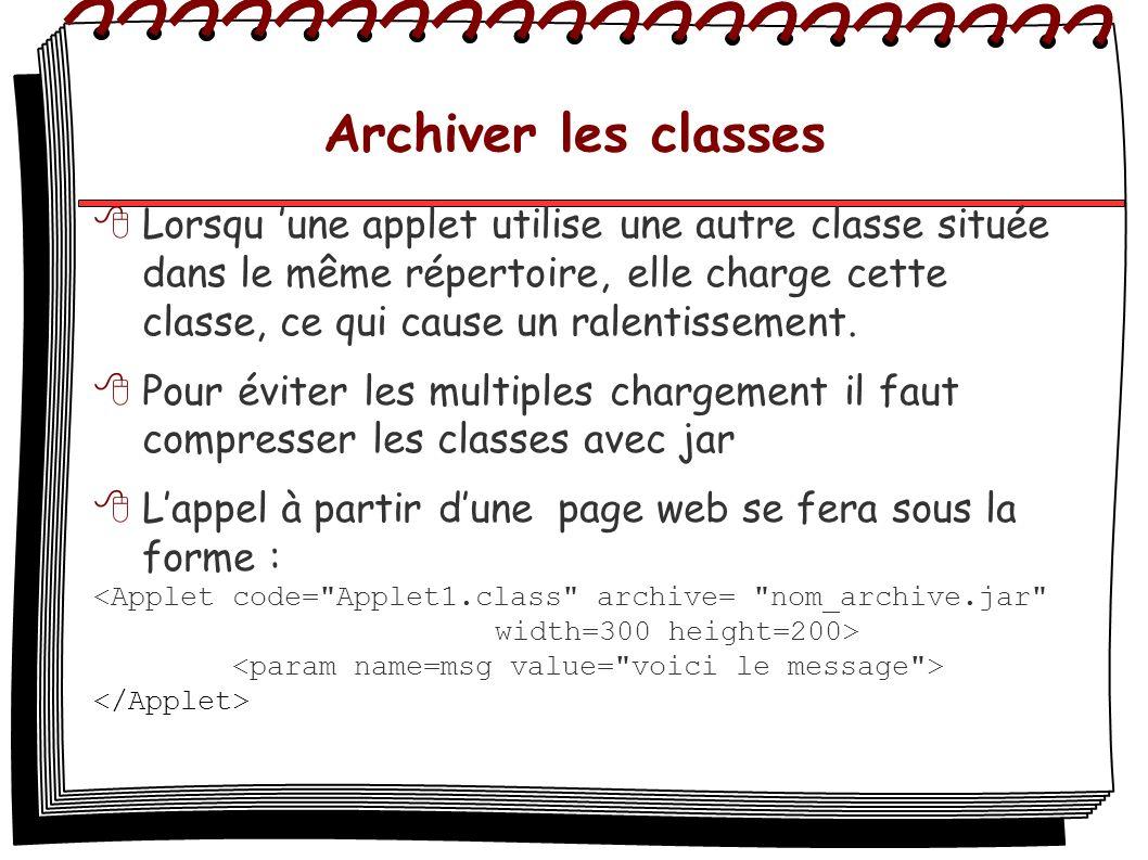 Archiver les classes Lorsqu une applet utilise une autre classe située dans le même répertoire, elle charge cette classe, ce qui cause un ralentisseme
