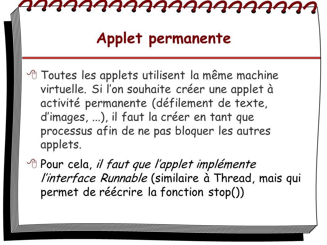 Applet permanente Toutes les applets utilisent la même machine virtuelle. Si lon souhaite créer une applet à activité permanente (défilement de texte,