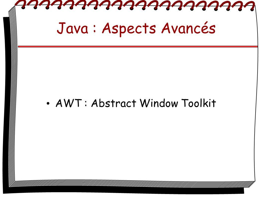 Java : Aspects Avancés AWT : Abstract Window Toolkit