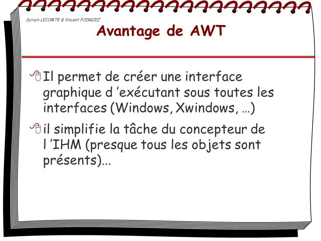 Avantage de AWT Il permet de créer une interface graphique d exécutant sous toutes les interfaces (Windows, Xwindows, …) il simplifie la tâche du conc