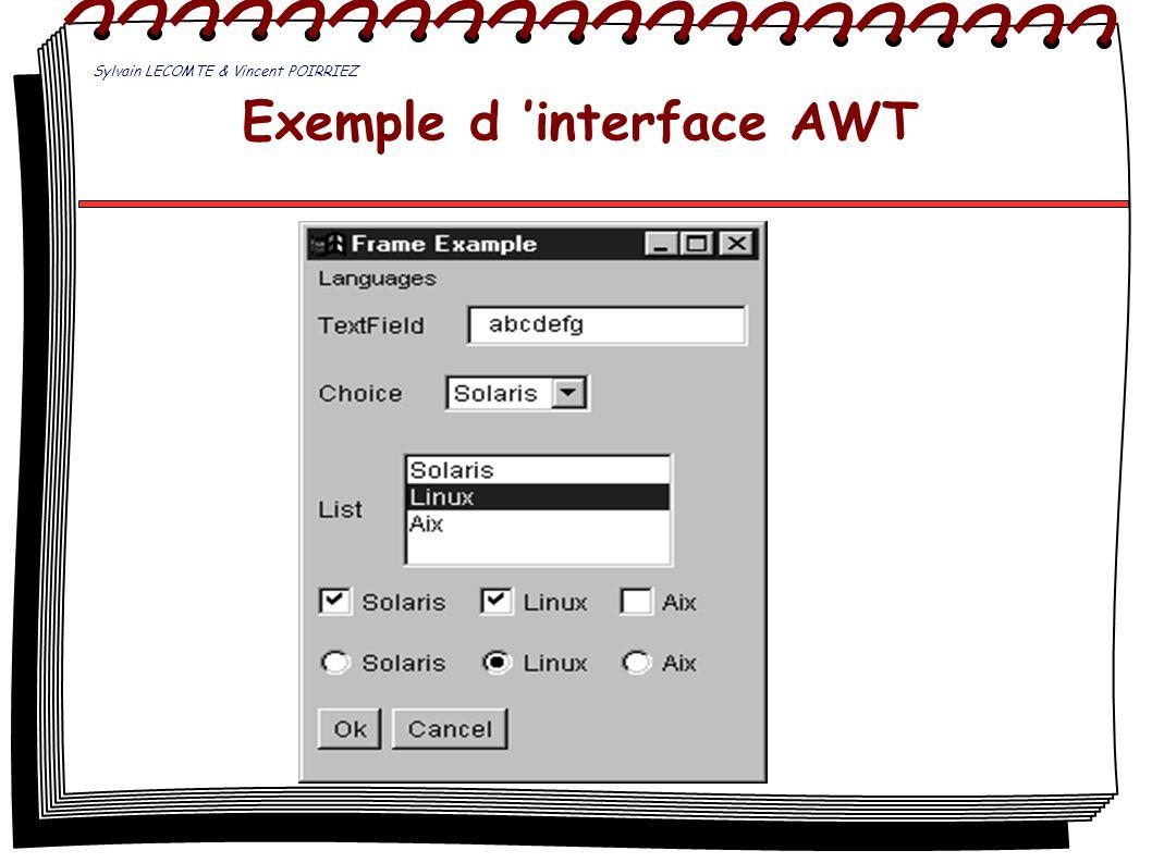 Exemple d interface AWT Sylvain LECOMTE & Vincent POIRRIEZ