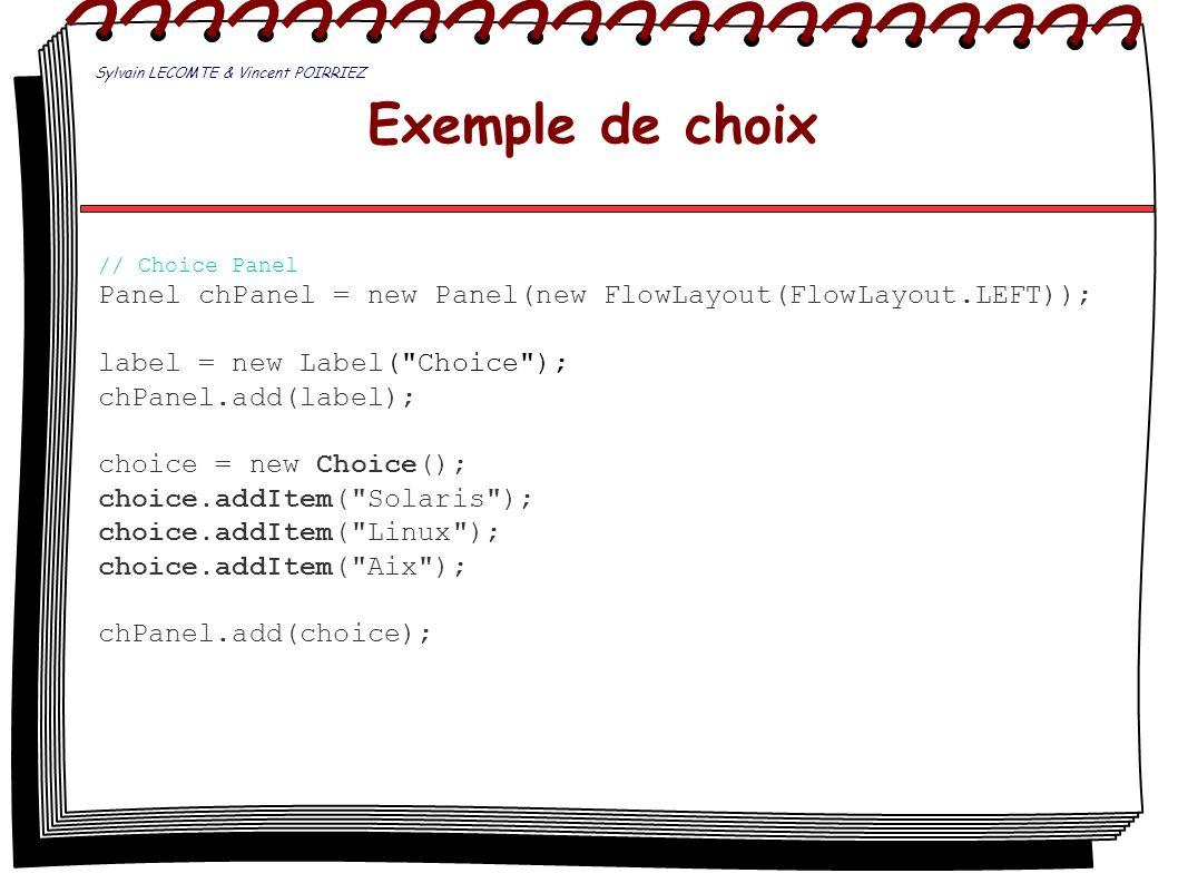 Exemple de choix // Choice Panel Panel chPanel = new Panel(new FlowLayout(FlowLayout.LEFT)); label = new Label(