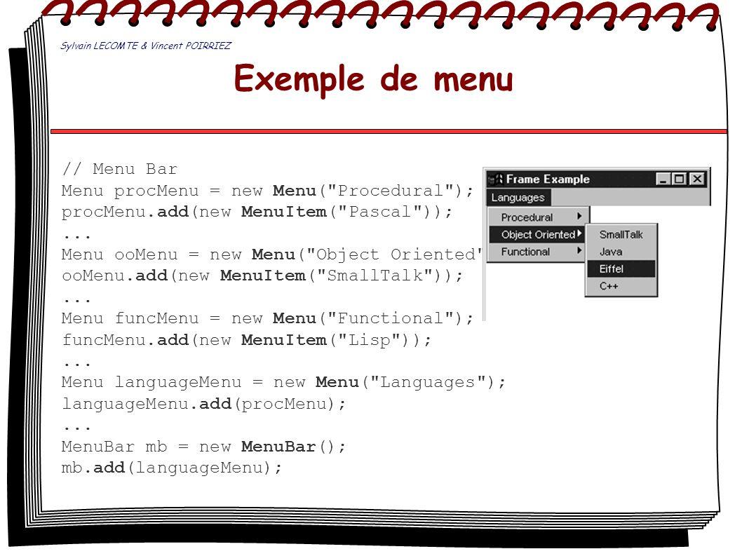 Exemple de menu // Menu Bar Menu procMenu = new Menu(