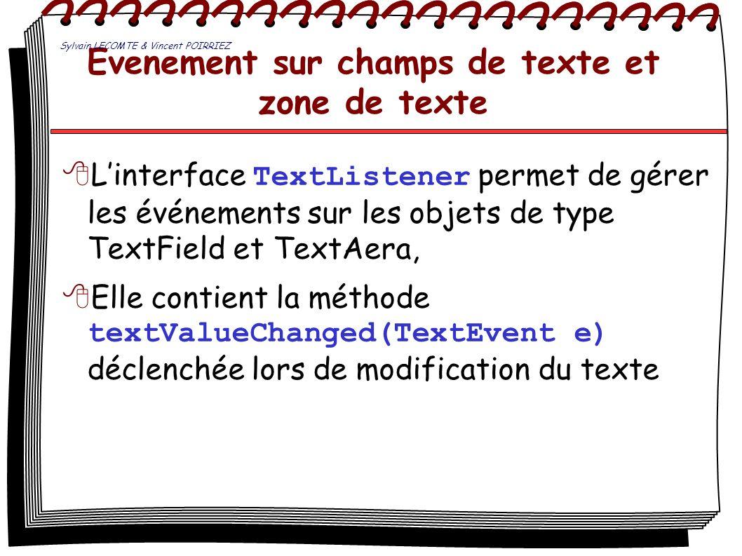 Evenement sur champs de texte et zone de texte Linterface TextListener permet de gérer les événements sur les objets de type TextField et TextAera, El