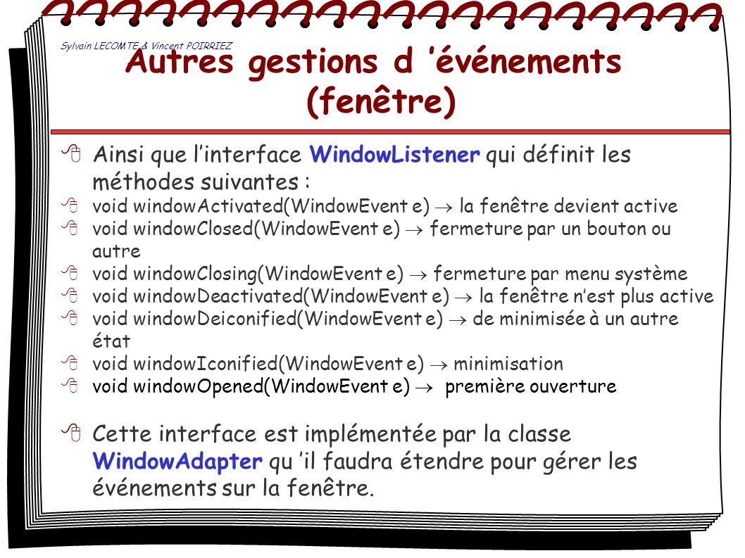 Autres gestions d événements (fenêtre) Ainsi que linterface WindowListener qui définit les méthodes suivantes : void windowActivated(WindowEvent e) la