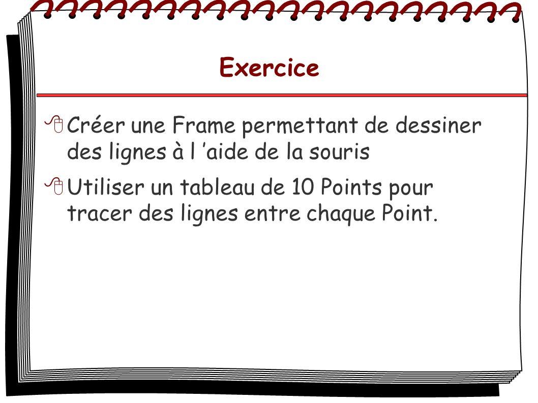 Exercice Créer une Frame permettant de dessiner des lignes à l aide de la souris Utiliser un tableau de 10 Points pour tracer des lignes entre chaque