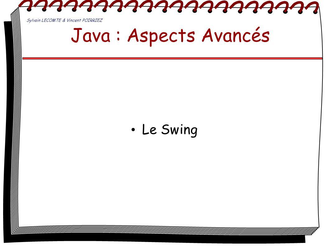 Java : Aspects Avancés Le Swing Sylvain LECOMTE & Vincent POIRRIEZ