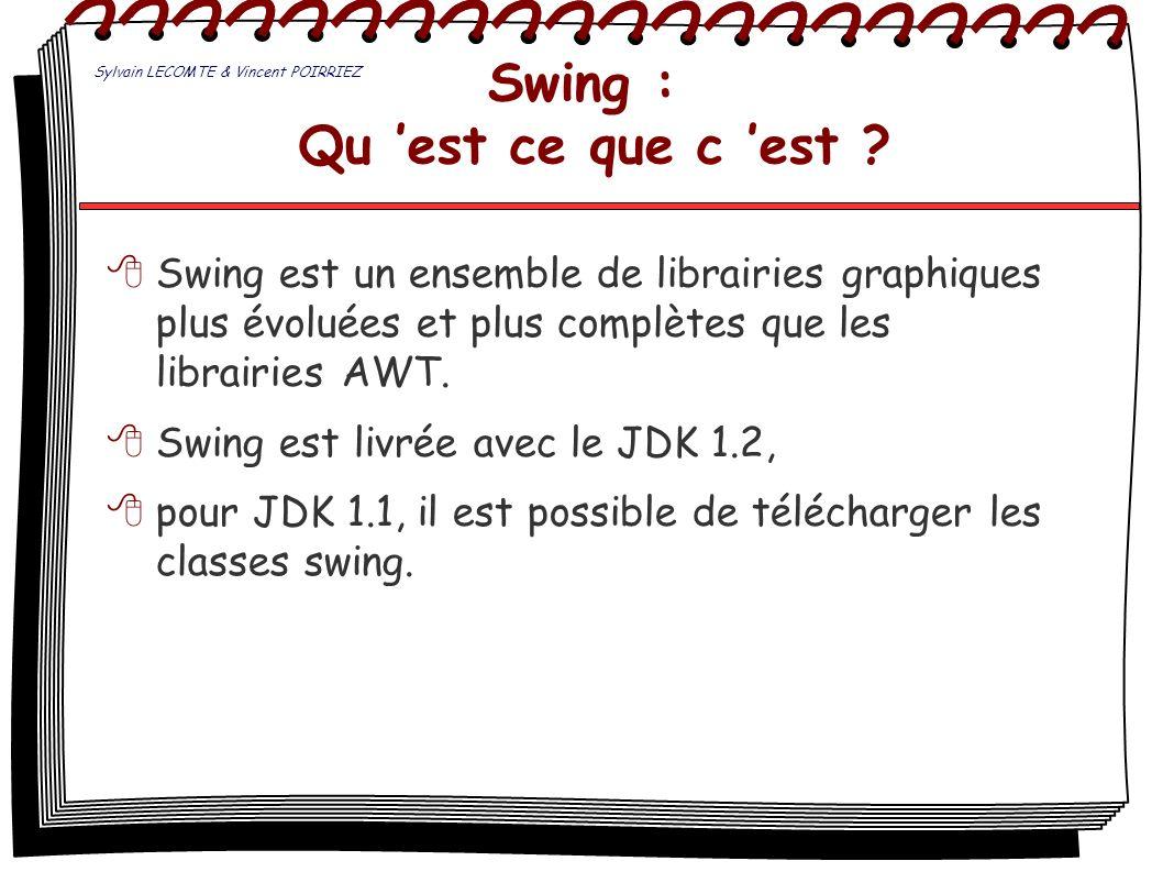 Swing : Qu est ce que c est ? Swing est un ensemble de librairies graphiques plus évoluées et plus complètes que les librairies AWT. Swing est livrée