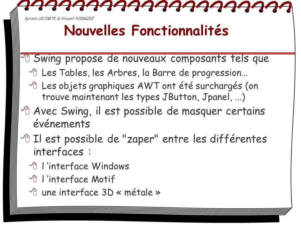 Nouvelles Fonctionnalités Swing propose de nouveaux composants tels que Les Tables, les Arbres, la Barre de progression… Les objets graphiques AWT ont