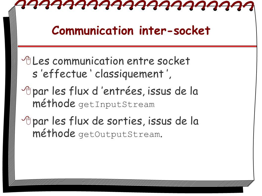 Communication inter-socket Les communication entre socket s effectue classiquement, par les flux d entrées, issus de la méthode getInputStream par les