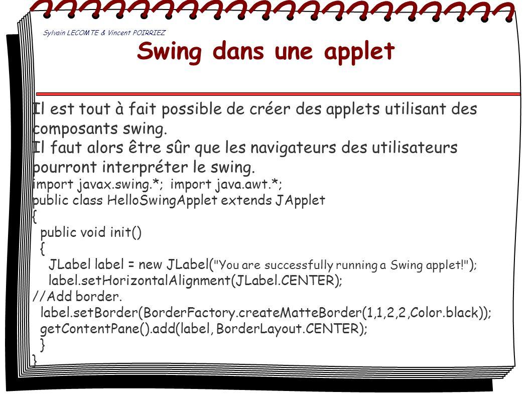Swing dans une applet Il est tout à fait possible de créer des applets utilisant des composants swing. Il faut alors être sûr que les navigateurs des