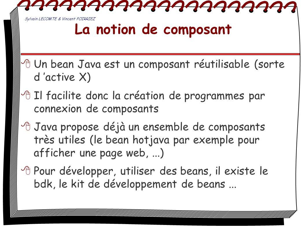 La notion de composant Un bean Java est un composant réutilisable (sorte d active X) Il facilite donc la création de programmes par connexion de compo