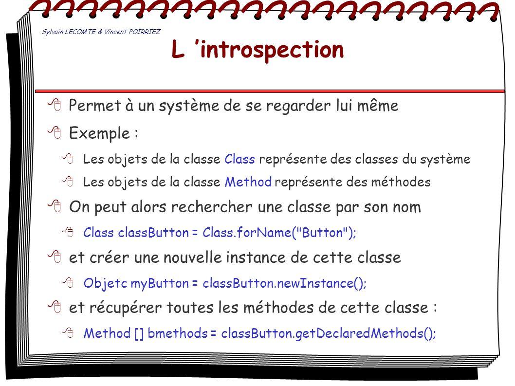 L introspection Permet à un système de se regarder lui même Exemple : Les objets de la classe Class représente des classes du système Les objets de la