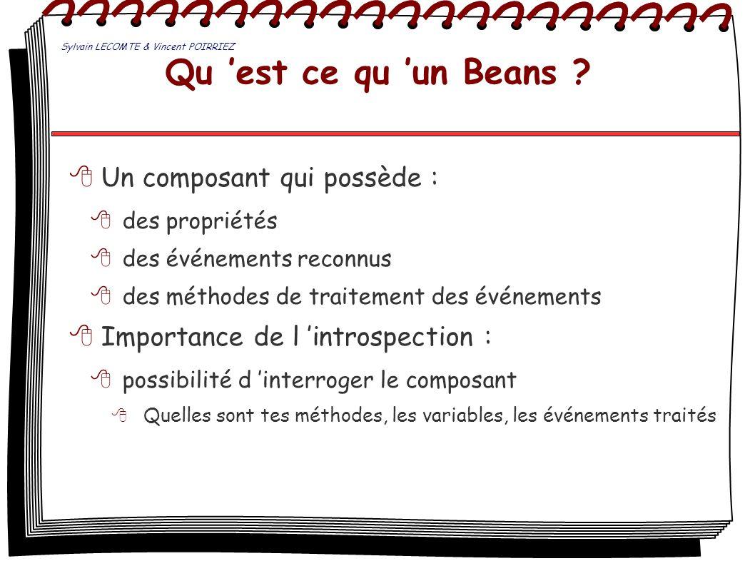 Qu est ce qu un Beans ? Un composant qui possède : des propriétés des événements reconnus des méthodes de traitement des événements Importance de l in