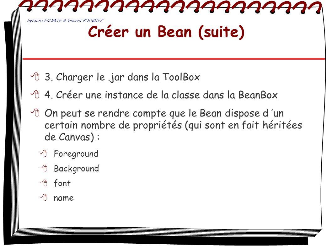 Créer un Bean (suite) 3. Charger le.jar dans la ToolBox 4. Créer une instance de la classe dans la BeanBox On peut se rendre compte que le Bean dispos