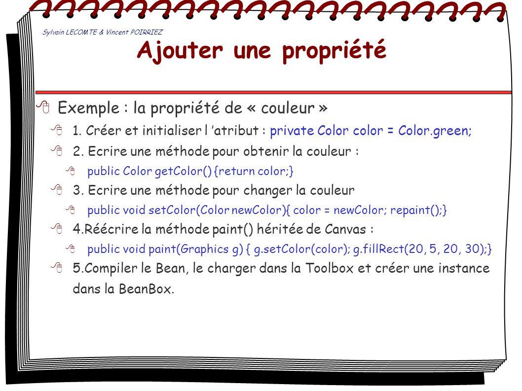 Ajouter une propriété Exemple : la propriété de « couleur » 1. Créer et initialiser l atribut : private Color color = Color.green; 2. Ecrire une métho