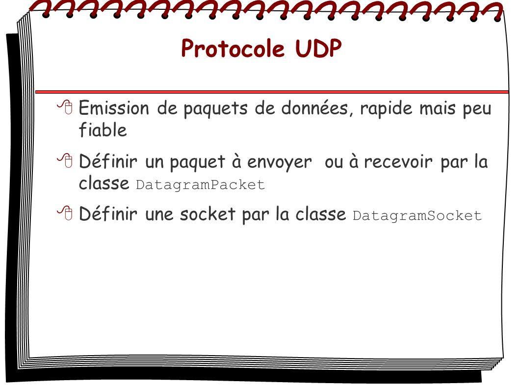 Protocole UDP Emission de paquets de données, rapide mais peu fiable Définir un paquet à envoyer ou à recevoir par la classe DatagramPacket Définir un