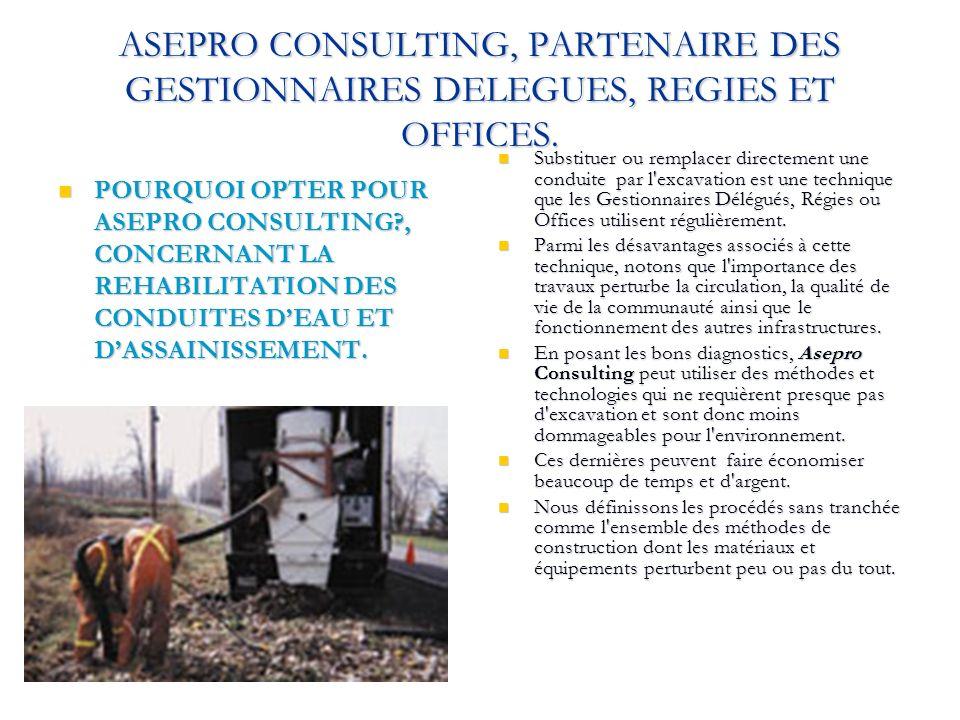 ASEPRO CONSULTING, PARTENAIRE DES GESTIONNAIRES DELEGUES, REGIES ET OFFICES. POURQUOI OPTER POUR ASEPRO CONSULTING?, CONCERNANT LA REHABILITATION DES