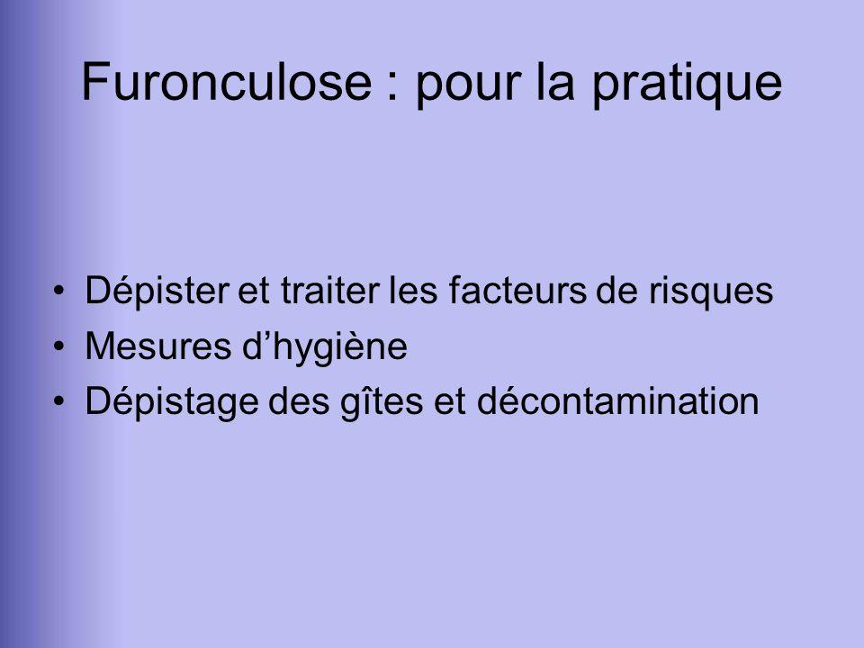Furonculose : pour la pratique Dépister et traiter les facteurs de risques Mesures dhygiène Dépistage des gîtes et décontamination