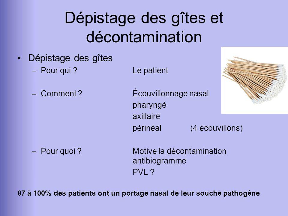 Dépistage des gîtes et décontamination Dépistage des gîtes –Pour qui ?Le patient –Comment ?Écouvillonnage nasal pharyngé axillaire périnéal (4 écouvil