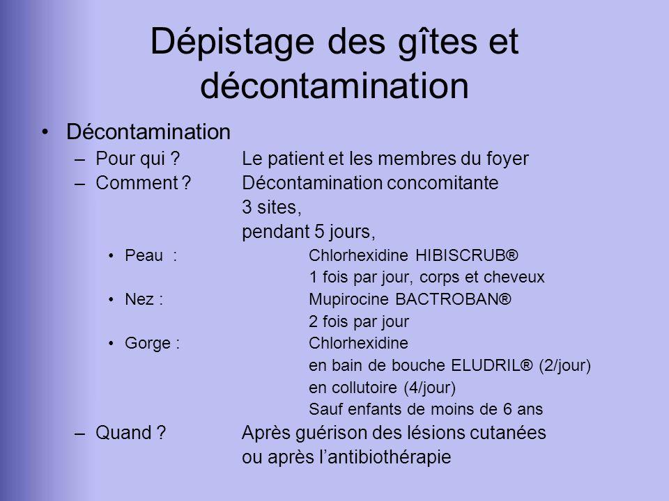 Dépistage des gîtes et décontamination Décontamination –Pour qui ? Le patient et les membres du foyer –Comment ? Décontamination concomitante 3 sites,