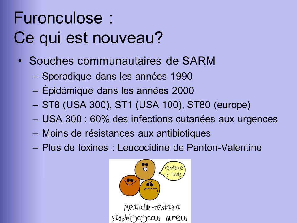 Furonculose : Ce qui est nouveau? Souches communautaires de SARM –Sporadique dans les années 1990 –Épidémique dans les années 2000 –ST8 (USA 300), ST1