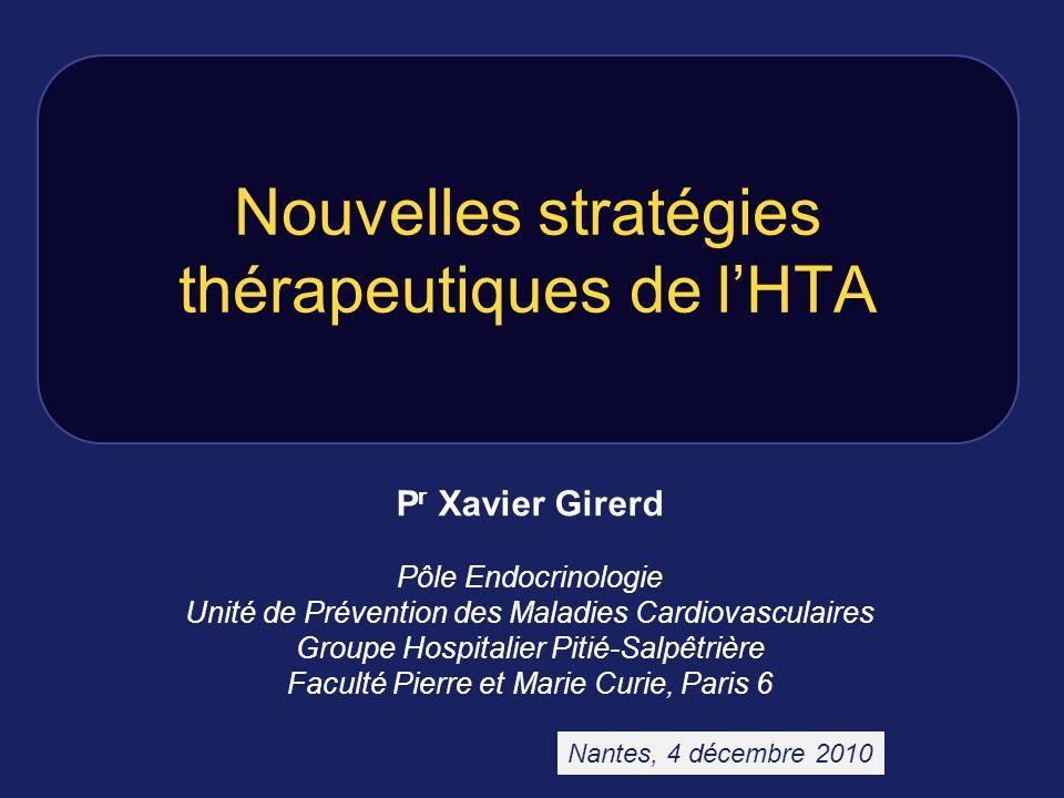 Nouvelles stratégies thérapeutiques de lHTA P r Xavier Girerd Pôle Endocrinologie Unité de Prévention des Maladies Cardiovasculaires Groupe Hospitalie