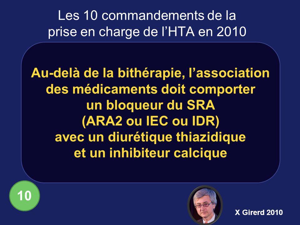 Au-delà de la bithérapie, lassociation des médicaments doit comporter un bloqueur du SRA (ARA2 ou IEC ou IDR) avec un diurétique thiazidique et un inh