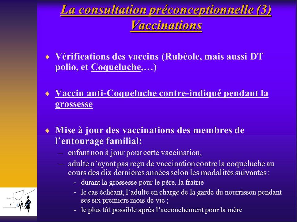 La consultation préconceptionnelle (3) Vaccinations La consultation préconceptionnelle (3) Vaccinations Vérifications des vaccins (Rubéole, mais aussi